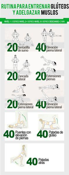 Rutina para entrenar glúteos y muslos