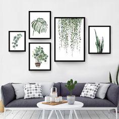 Cat air Tropis Tanaman daun Canvas Art Print Poster, Nordic Hijau daun Tanaman pedesaan Gambar Dinding untuk Dekorasi Rumah