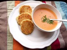 Creamy Slow Cooker Tomato Soup with Cheesy Quinoa Dippers from Pretty Kittens Kitchen via Slow Cooker from Scratch