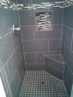 MS International Metro Glacier 12 in. x 24 in. Glazed Porcelain Floor and Wall Tile sq. & case) at The Home Depot - Mobile Tile Walk In Shower, Gray Shower Tile, Master Bathroom Shower, Small Bathroom With Shower, Home Depot Bathroom Tile, Bathroom Ideas, Bathtub Tile, Shower Seat, Bathroom Interior Design