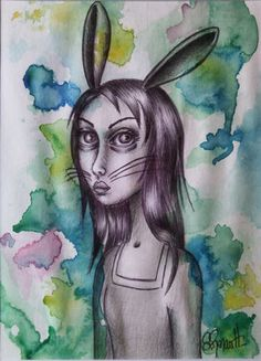 "Série ""Ani-mots"" : Du haut de Lapine-ède (2015) Dessin aquarelle / Drawing watercolor Illustration par S.Renault"