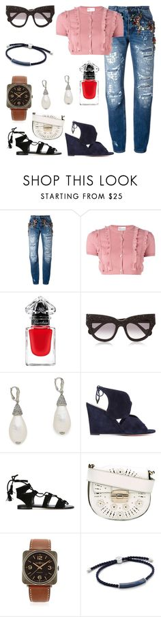 """""""Fashion for all"""" by denisee-denisee ❤ liked on Polyvore featuring Dolce&Gabbana, RED Valentino, Guerlain, Anna-Karin Karlsson, Oscar de la Renta, Aquazzura, Stuart Weitzman, Furla, Bell & Ross and Monica Vinader"""