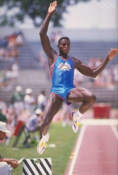 1988: Carl Lewis doing his long jump at the U.S. Olympic Trials. Mandatory Credit: Tony Duffy /Allsport Olympic Sports, Olympic Athletes, Olympic Games, Carl Lewis, Olympic Trials, Lycra Men, Long Jump, Qi Gong, Sport Icon
