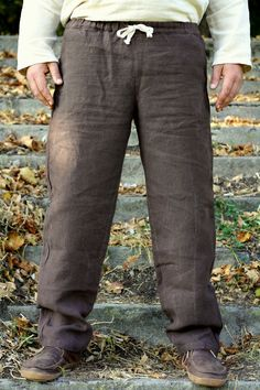 Comfortable men long trousers brown color - natural flax by on Etsy Medieval Belt, Trousers, Sweatpants, Natural, Brown, Men, Color, Etsy, Fashion