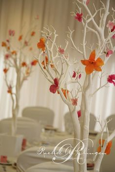 White branches with peach flowers.