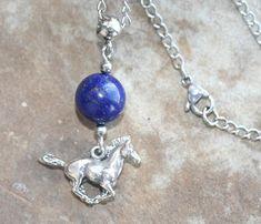 Lapis Lazuli Horse Necklace 419p: Handmade Jewelry Lapis