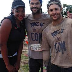Jensen Ackles and Jared Padalecki at the Tough Mudder outside of Austin, TX. May 2, 2015.