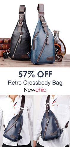 17e7c5b3fcda Men PU Leather Retro Portable Leisure Shoulder Bag Chest Bag Crossbody Bag.   bags