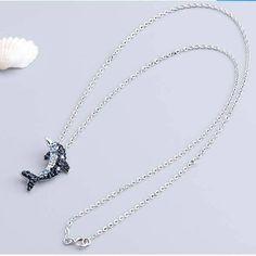 Lantisor pentru Dame, Argint S925, cu Pandantiv din Zirconiu sub Forma de Delfin