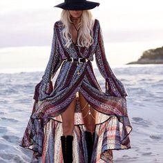 V-neck Split Print Long Bohemian Dress