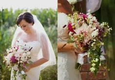Waterfall bouquet with orchids and dahlias