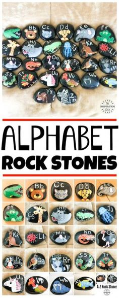 This Alphabet Learning Activity is great for kids. Paint rock stones and make Alphabet rock art to teach the letters of the alphabet to preschool and kindergarten kids. Phonics Activities, Infant Activities, Early Learning Activities, Educational Activities, Teaching Resources, Teaching The Alphabet, Learning Letters, Preschool Letters, Toddler Learning