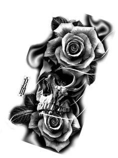 Skull roses rose tattoo design digital blackandgrey for Higher ground tattoo