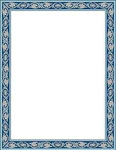 Silver Frame Border Template With A Grey And Blue Ribbon 123