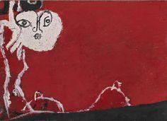 """Osvaldo Licini - Amalassunta su fondo cinabro, 1957 - Mart, Collezione Augusto e Francesca Giovanardi - """"La Magnifica Ossessione"""" www.mart.tn.it/magnificaossessione"""