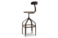 Architect's Industrial Bar Stool with Backrest in Antiqued Copper | Affordable Modern Design | Baxton Studio