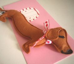 Barbeque the Dachshund Weiner Dog Mini Valentines Day by Cuore, $18.00