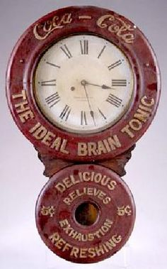 Coca-Cola, Baird Clock Co, Figure 8, 30 inch. A mid 1890s Coca-Cola figure eight advertising clock by the Baird Clock Company promoting the cola as The Ideal Brain Tonic