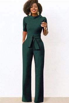 Tie waist pockets half sleeve wide leg chic jumpsuit # @ sexy rompers and jumpsuits for women-strapless jumpsuit. G sleeve jumpsuit. Jumpsuit Elegante, Jumpsuit Dressy, Backless Jumpsuit, Jumpsuit Outfit, Strapless Romper, Floral Jumpsuit, Denim Jumpsuit, Floral Romper, Black Jumpsuit