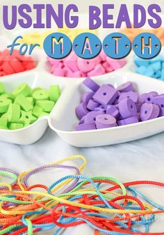 Using beads as math manipulatives is a great way to work on math skills such as patterning and addition while working on fine-motor skills!