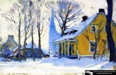 The Athenaeum - Canadian Village, Grey Day, Gagnon. - Clarence Gagnon November 1881 – 5 January was a Canadian painter from the province of Quebec. Canadian Painters, Canadian Artists, Clarence Gagnon, Quebec, Winter Painting, Art Van, Winter Landscape, Canvas Art Prints, Painting Prints