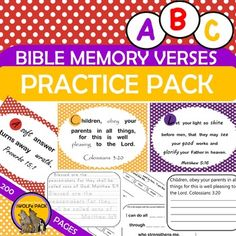 Bible Verses Scripture Memorization Practice Pack ABC Memory Verses Scripture Practice Pack I created this resource because my husband and I believe in the value of teaching our son to hide Gods word in his heart, but as his homeschool teacher, I struggled with HOW to do that {besides repetition of recitation}.