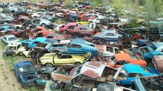 Behold the world's largest vintage Mustang junkyard—at least that is what we think it is. We certainly haven't ever seen more rusting and decrepit pony cars in one place than this massive junkyard has to offer. Amc Javelin, Plymouth, Kombi Trailer, Junkyard Cars, Wrecking Yards, Vintage Mustang, Car Barn, Pontiac, Classic Mustang