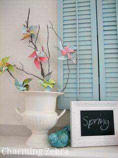Pinwheel Tree on spring mantel.