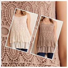 tla2 Tops - BEAUTIFUL CROCHET TOP WITH RUFFLE