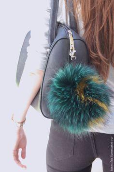 Real fur bag charm, fur keychain, fur pom pom, fur ball