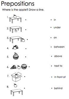 Prepositions English Grammar For Kids, Learning English For Kids, English Lessons For Kids, Learn English Words, English Prepositions, English Worksheets For Kids, Blends Worksheets, 1st Grade Worksheets, Preschool Writing