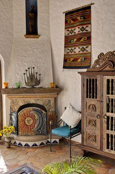 Hacienda living area - love the fireplace