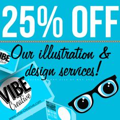 25% off illustration and graphic design at Vibe Creative until the 22nd of May 2015! For a quote, or further info contact kyomi.martyn@vibe-creative.com