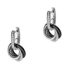 9364ee8ff Emporio Armani silver & ceramic triple hoop earrings - Product number  1462717 Black Jewelry, Jewelry
