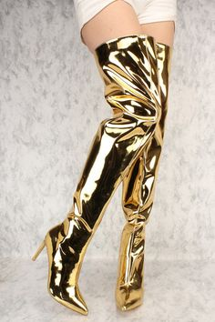 Gold Chrome Flared Pointy Toe Thigh High Heel Boots Patent