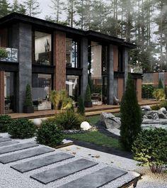 Modern Villa Design, Modern Exterior House Designs, Modern Architecture House, Dream House Exterior, Exterior Design, Architecture Design, Home Building Design, Luxury Homes Dream Houses, Dream Home Design