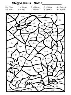 coloring coloring math grade 1 mathematical coloring with dinosaurs coloring stegnozavr free color by number math pages - Free Coloring Worksheets