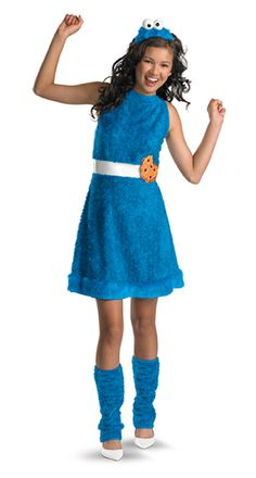 Cookie Monster Child/Tween Costume Includes: dress with belt, leg warmers, and headpiece. Does not include shoes. This is an officially licensed Sesame Street product. Weight (lbs) 0.91 Length (inches