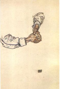 Egon Schiele - Study of hands. Watercolour and ink on paper, 1913.