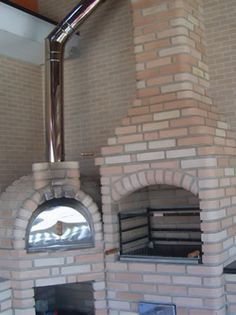 Churrasqueira com Forno com Forno Four A Pizza, Chiminea, Stove Fireplace, Earthship, Modern Architecture House, Construction, Modern Bedroom, All Modern, Interior Design Living Room