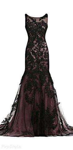Vintage Black Lace Applique Mermaid Dress