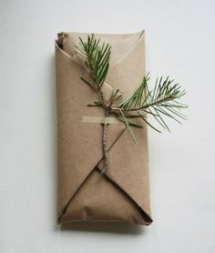 No better feeling than giving a great gift. (Except for giving a great gift and wrapping it awesomely.) Definitely love this idea of tying a bit of nature to the box.