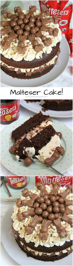 ❤️ A Two Layer Chocolate Malt Sponge, with Malteser Spread Filling, Malt Buttercream Cupcake Recipes, Baking Recipes, Cupcake Cakes, Dessert Recipes, Delicious Desserts, Chocolate Fudge Cake, Chocolate Malt, Chocolate Biscuit Cake, Crunchie Cake