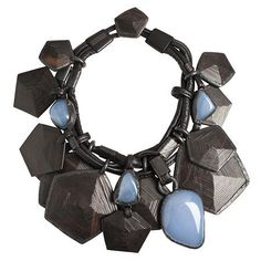 Monies ebony chalcedony leather necklace