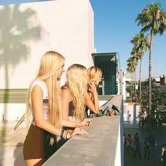 long blonde hair girls friends summer vacation vacay
