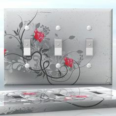 DIY Do It Yourself Home Decor - Easy to apply wall plate wraps | Red Elegance #2  Grey background and red flowers  wallplate skin sticker for 3 Gang Toggle LightSwitch | On SALE now only $5.95