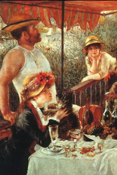 """Half of a painting called, """"The Luncheon of the Boating Party"""" painted in 1881, by the talented French artist Pierre Auguste Renoir."""
