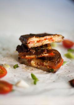 Aubergine Braaibroodjies with Cheese and Tomato