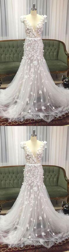 unique white v neck tulle long prom dress, tulle wedding dress, tulle bridal dress