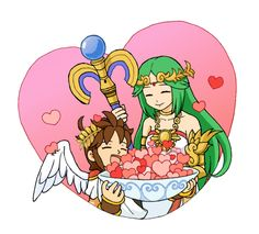 Hearts (Pit and Palutena of Kid Icarus Uprising) by he-taro.deviantart.com